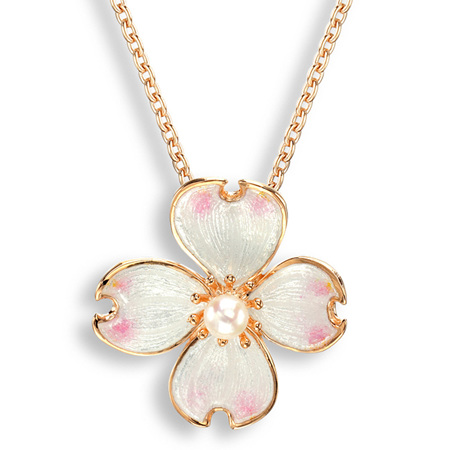 White Enamel Akoya Pearl Flower Necklace in Rose Gold