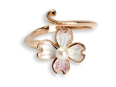 White Enamel Akoya Pearl Flower Ring