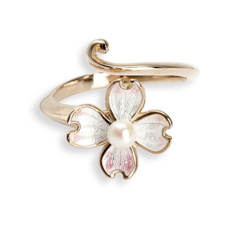 White Enamel Akoya Pearl Flower Ring in Rose Gold