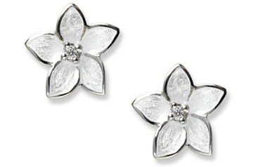 White Enamel Diamond Flower Earrings