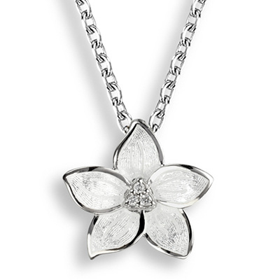 White Enamel Stephanotis Flower Necklace
