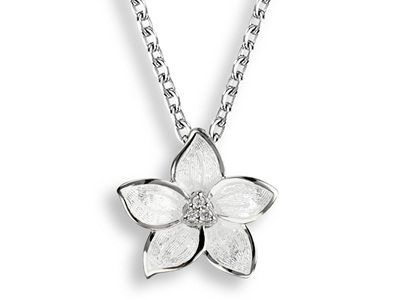 White Enamel Stephanotis Flower Necklace