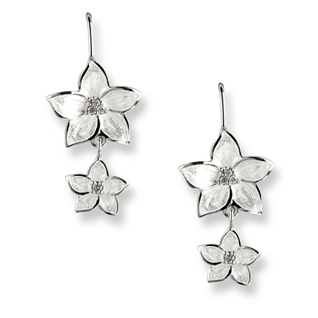 White Enamel Diamond Flower Double Drop Earrings