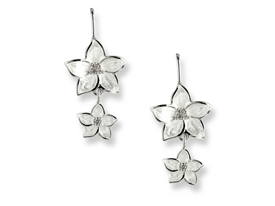 White Enamel Diamond Flower Double Drop Earrings