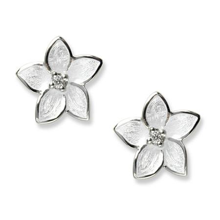 White Enamel Diamond Flower Earrings