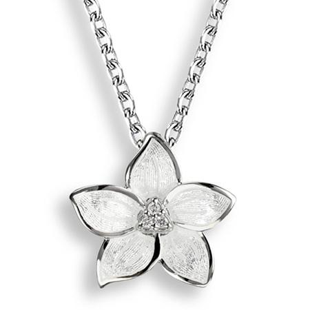White Enamel Diamond Stephanotis Flower Necklace