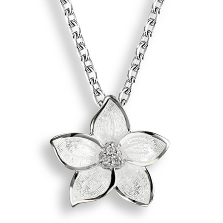 White Enamel Diamond Stephanotis Flower Necklace