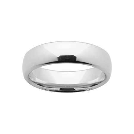 White Gold Mens Comfort Curve Wedding Ring