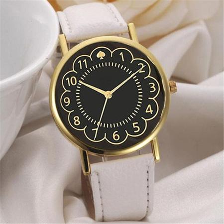 White & Gold Spades Watch