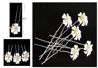 White & Gold Wedding Hair Pins (pack of 5)