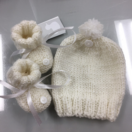White Hat and Bootee Set