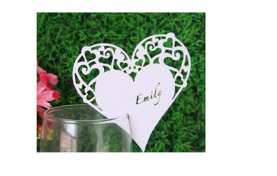 White Heart Shaped Table Name Cards
