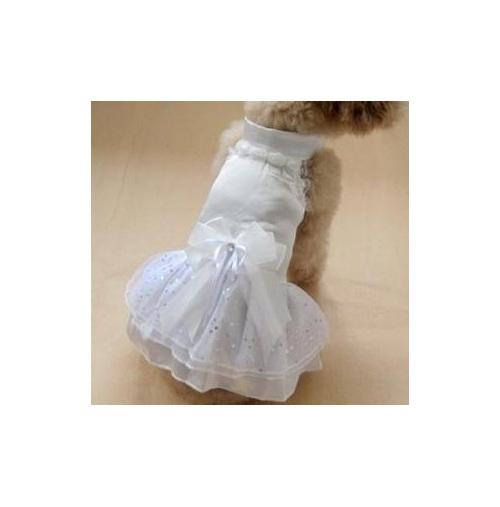 white layered satin dress