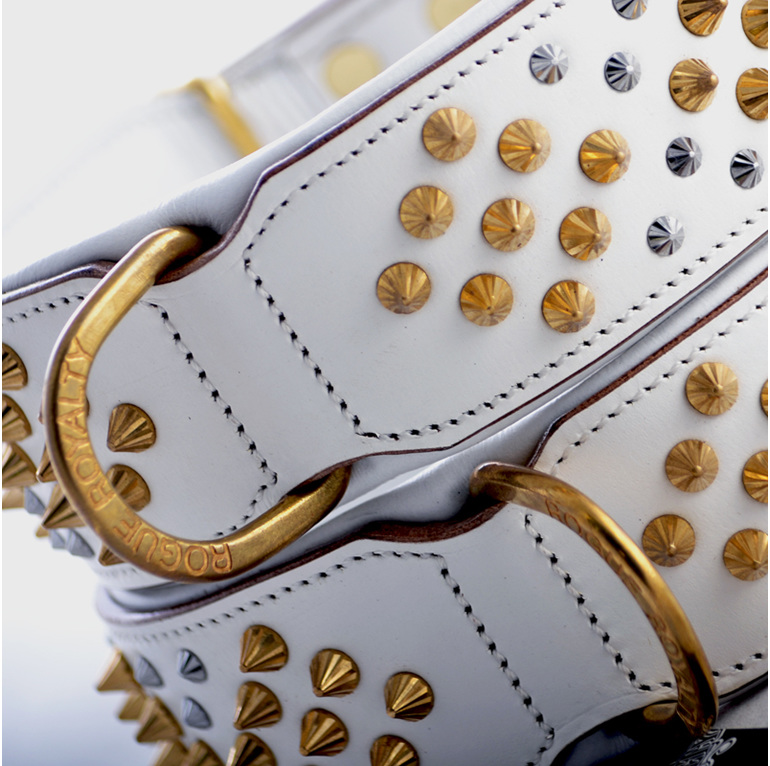 White leather dog collar for large dogs with gold studs by Rogue Royalty