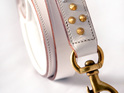 White Leather Dog Leash with Gold Studs by Rogue Royalty