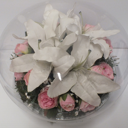 White Lilies in an acrylic dome 2304