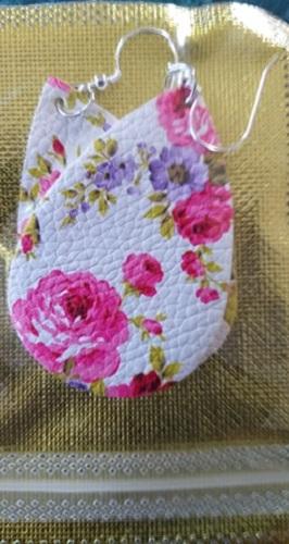 White & Pink & Purple Floral Tear Drop Earrings
