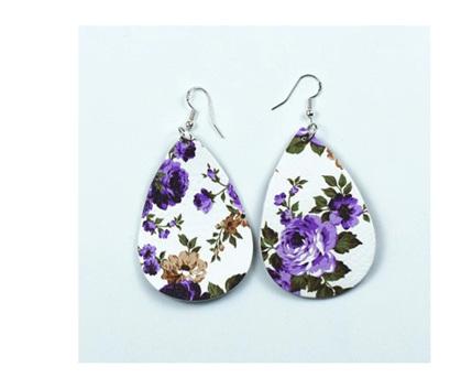 White & Purple Floral Earrings