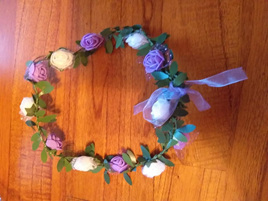 White & Purple Floral Headpiece