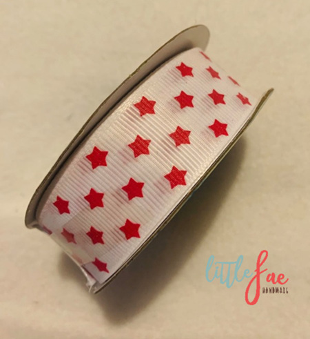 White & Red Star Hair Bows