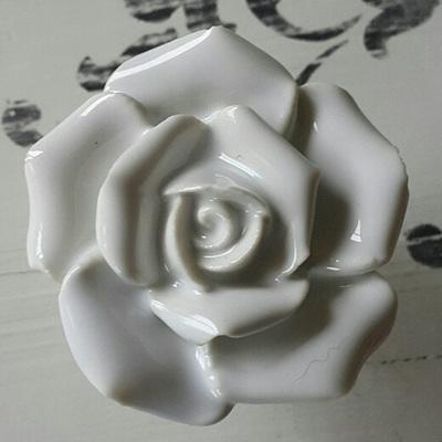 White Rose Ceramic Knob
