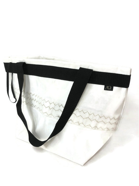 White sailcloth bag from a recycled catamaran sail.  Made in NZ
