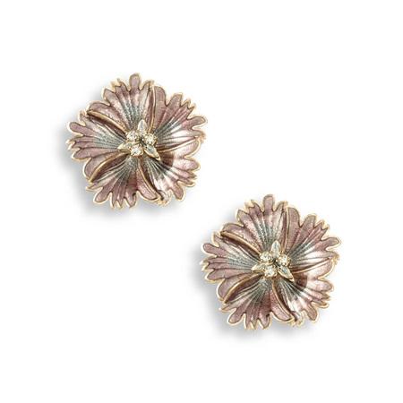 White Sapphire Purple Sweetness Flower Stud Earrings