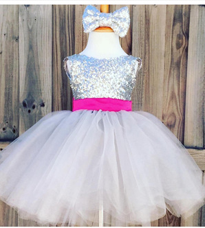 White & Silver Kids Dress Clearance