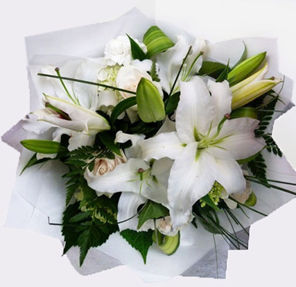 White & Green Toned Posy