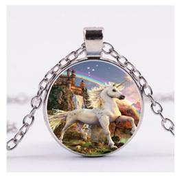 White Unicorn & Castle Pendant Necklace (Silver)
