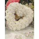 White velvet rose heart 20cm