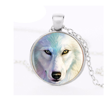White Wolf Pendant Necklace (silver chain)