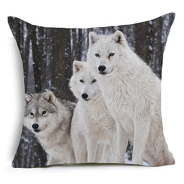 White Wolves Cushion Cover