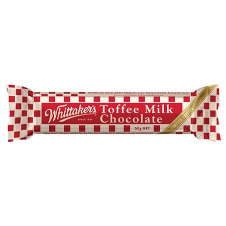 Whittakers Toffee Milk chocolate BARS - 50g wrapped bars x 36