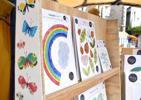 Wholesale wall decals in a retail display