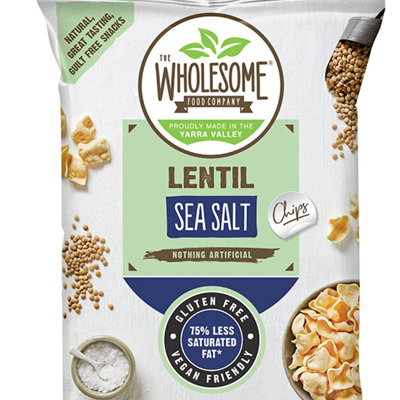 Wholesome Food Co Lentil Chips - Sea Salt - 120g