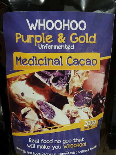 WhooHoo Medicinal Cacao Powder Purple and Gold 200g