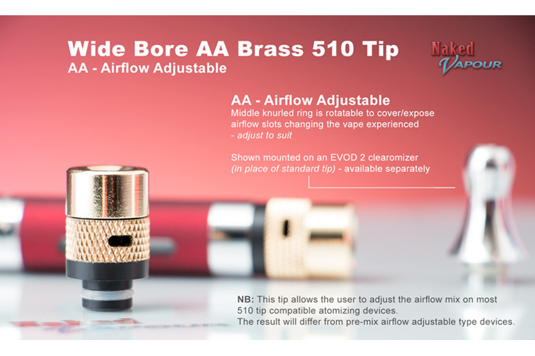 Wide Bore Adjustable Airflow Brass 510 Tip