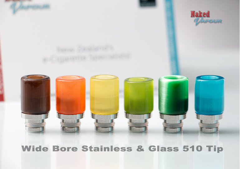 Wide Bore Glass & Stainless 510 Tip