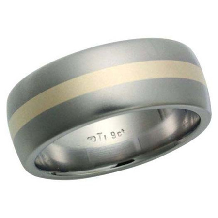 Wide Titanium Ring with Yellow Gold Inlay