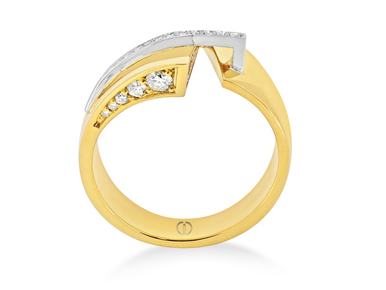 wide yellow gold diamond dress ring