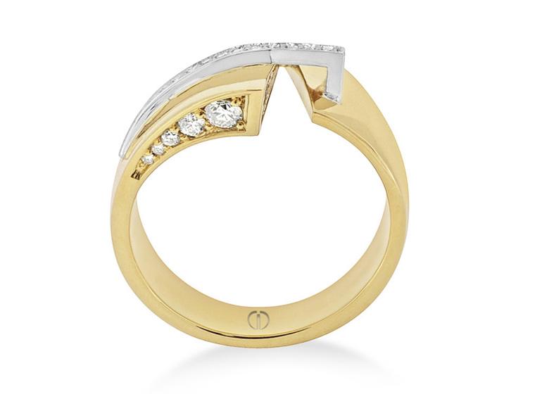 wide yellow gold diamond dress ring