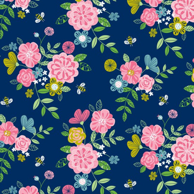 Wildflower Honey - Floral Navy
