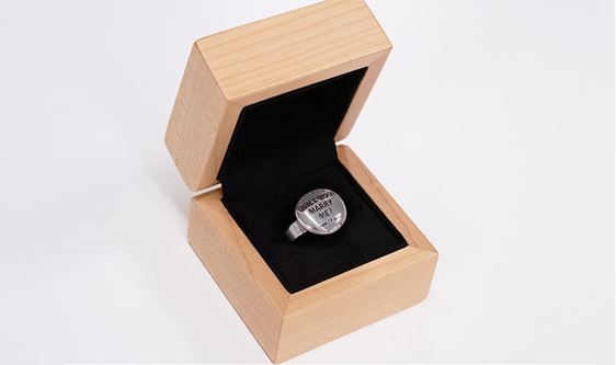 Wilshi Button Proposal Ring in handmade natural wooden box