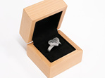 Wilshi Heart Proposal Ring in a natural wooden box