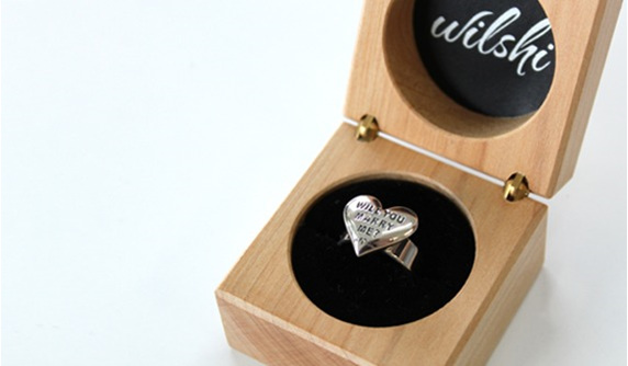 Wilshi Heart Proposal Ring in handmade natural wooden box