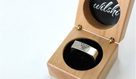 Wilshi Metro Proposal Ring in handmade natural wooden box