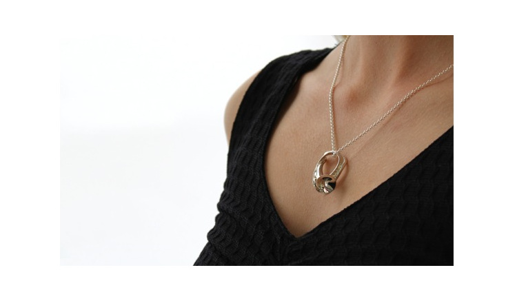 Wilshi Shell Proposal Ring on sterling silver necklace