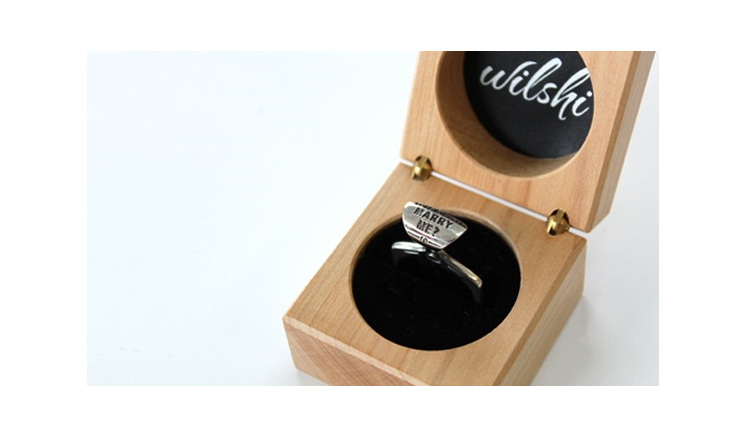 Wilshi Tear Tab Proposal Ring in handmade natural wooden box