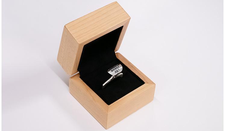 Wilshi Tear Tab Proposal Ring in natural wooden box